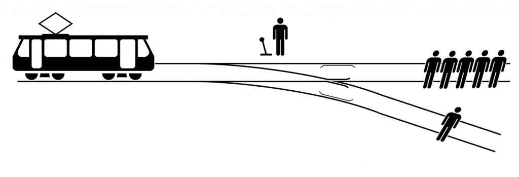 Trolley problem illustration
