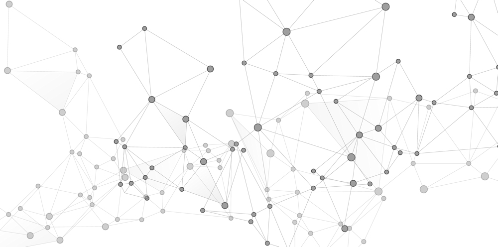 A visualisation of a static graph, with nodes connected by links