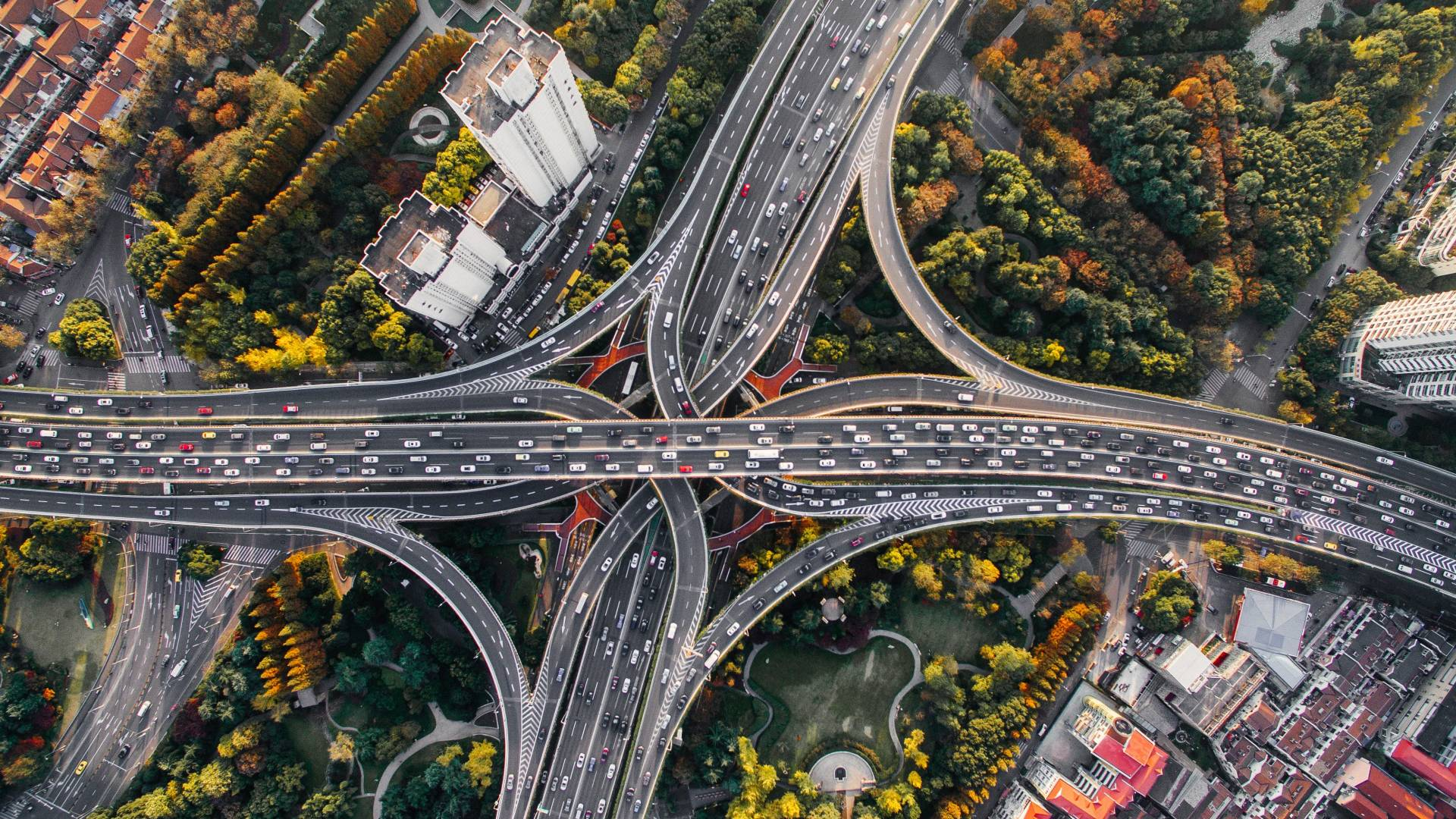 Birds-eye view of cars and roads
