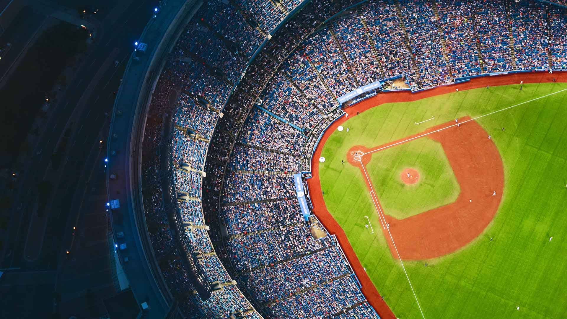 Aerial shot of a full baseball stadium